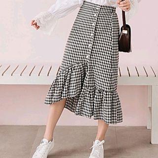 Plaid Midi Ruffled Irregular Skirt