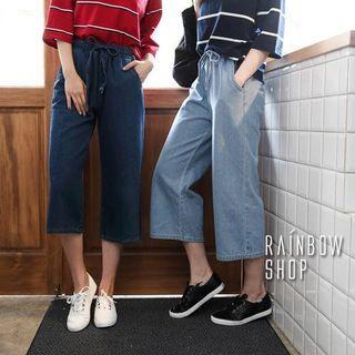 Rainbow Shop率性腰綁帶鬆緊牛仔寬褲
