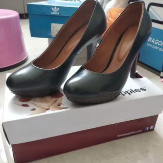 Sepatu Wanita High Heels Hush Puppies Kulit Asli - Hitam Black