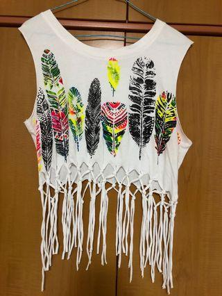 Feather Print Cropped Top