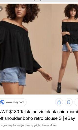 Aritzia talula marcilly off shoulder blouse