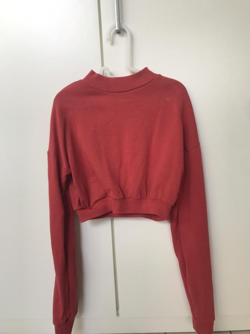 ASOS Red Knitted Mock Neck Long Sleeve Cropped Pullover