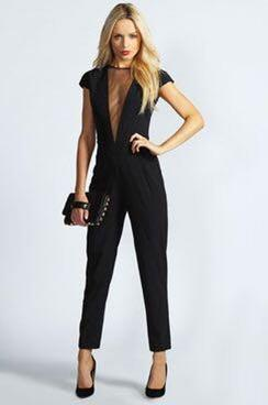 "BNWT Boohoo womens ""Olive Capped Mesh Insert Jumpsuit"""
