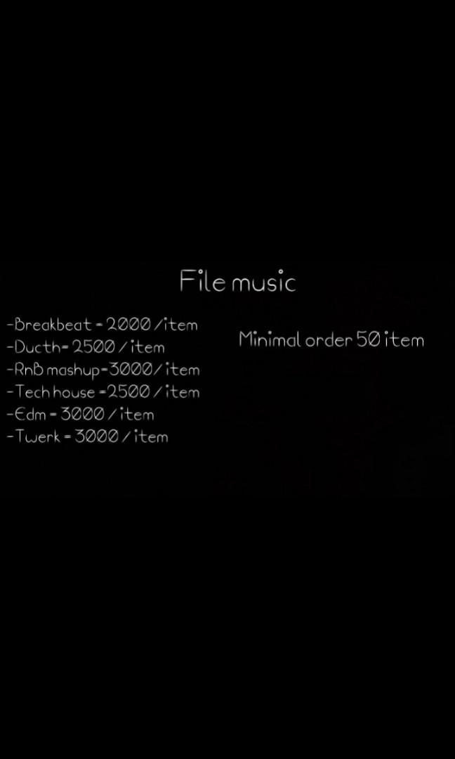 File dj pack yang mau belajar / mempunyai file music dj secret (keep)  Genre :  -Breakbeat -Ducth -RnB mashup -Tech house  -edm -Twerk