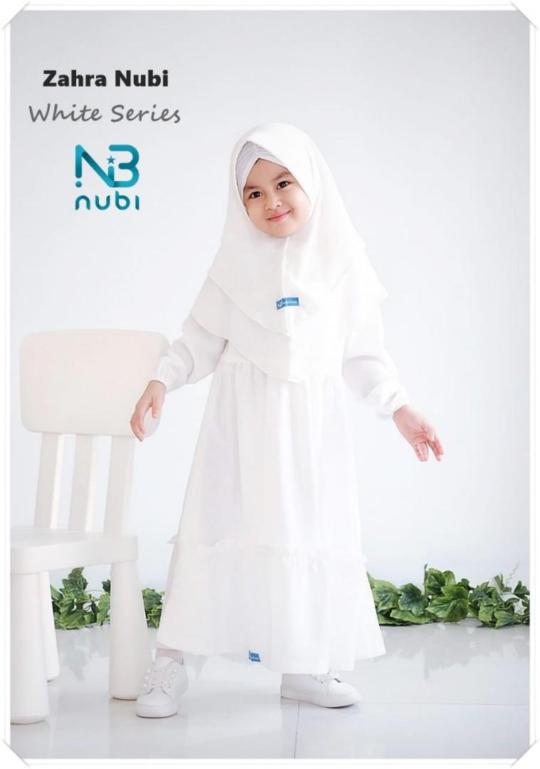 Gamis anak warna putih zahra white nubi