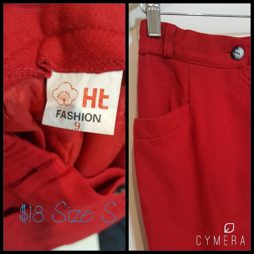 """HT Fashion"" Vintage Woolen Midi Red Pencil Skirt (Size 9)"