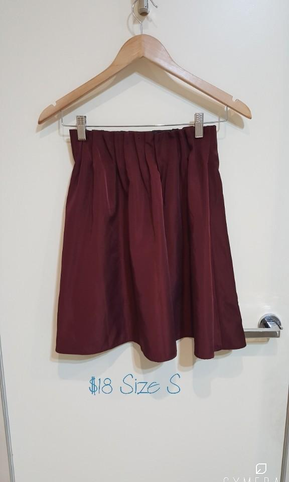 """""""Laboratory Work"""" Japanese Brand Sheer/Shiny Outerlayer Wine Red High Waisted Short Skirt (Size S)"""