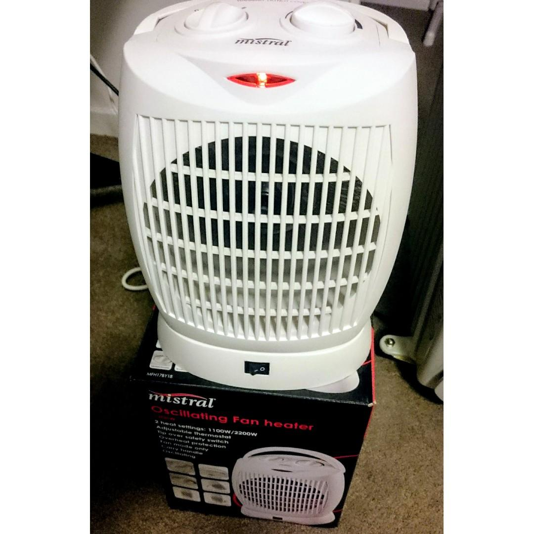 Mistral Oscillating Fan Heater 2200W with 2 Heat Settings & Thermostat