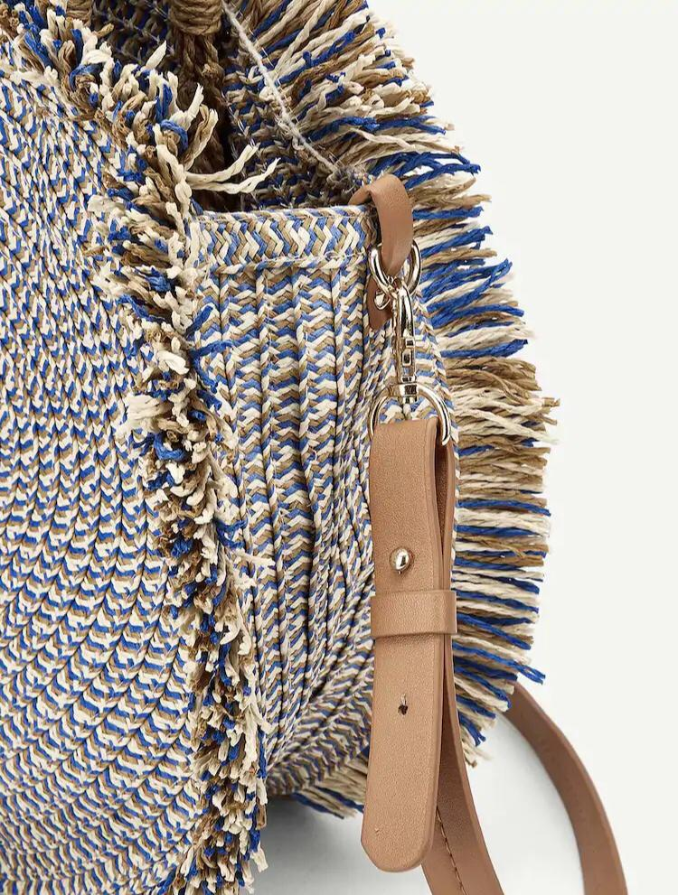 NEW Tassel Detail Round Satchel Straw bag blue beach borrow tas jerami pantai santai renda biru mocca