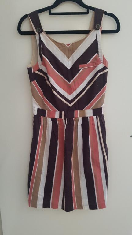 Striped Burnt Orange and Brown Linen Mini Dress, Backless, Size Small