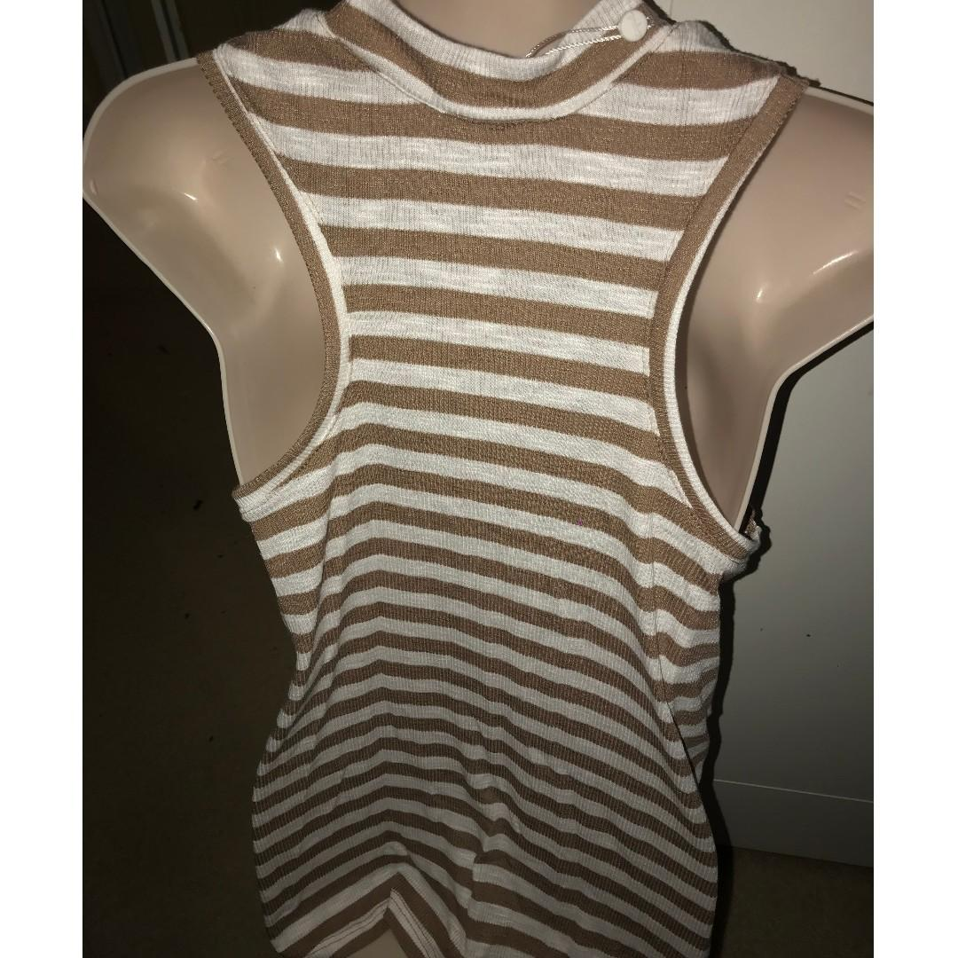 SUPRE High Neck Ribbed Swing Top Brown/White Size S BNWT
