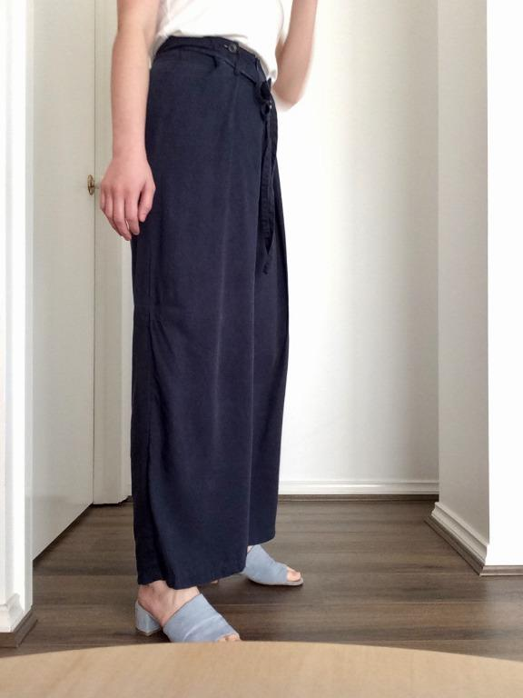 THINGS WE LOST Wrap Fold Wide Leg Pants Blue, Size Small