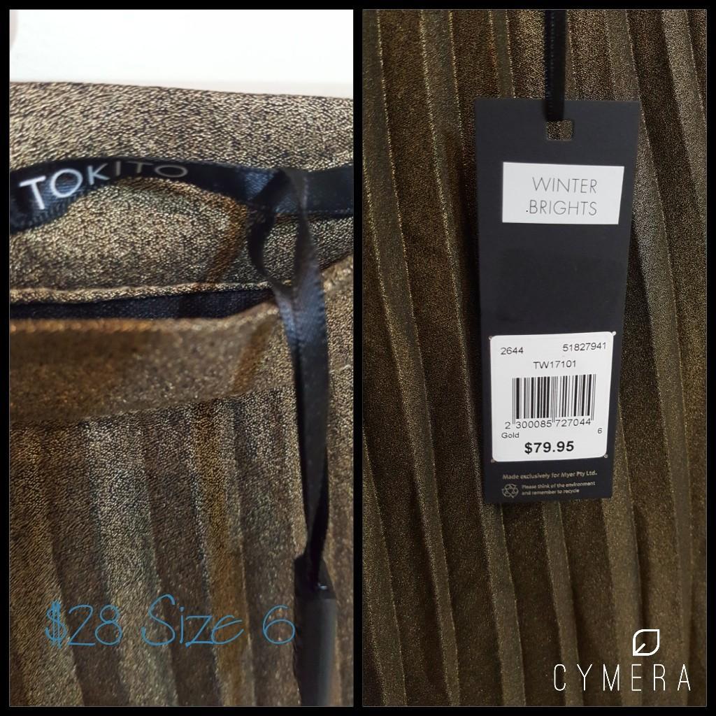 """""""TOKITO"""" Stunning Gold Pleated Midi Skirt (Size 6)"""
