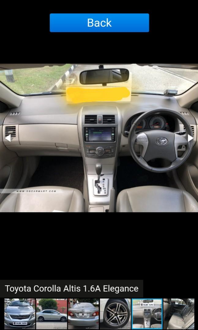 Toyota Altis for rental