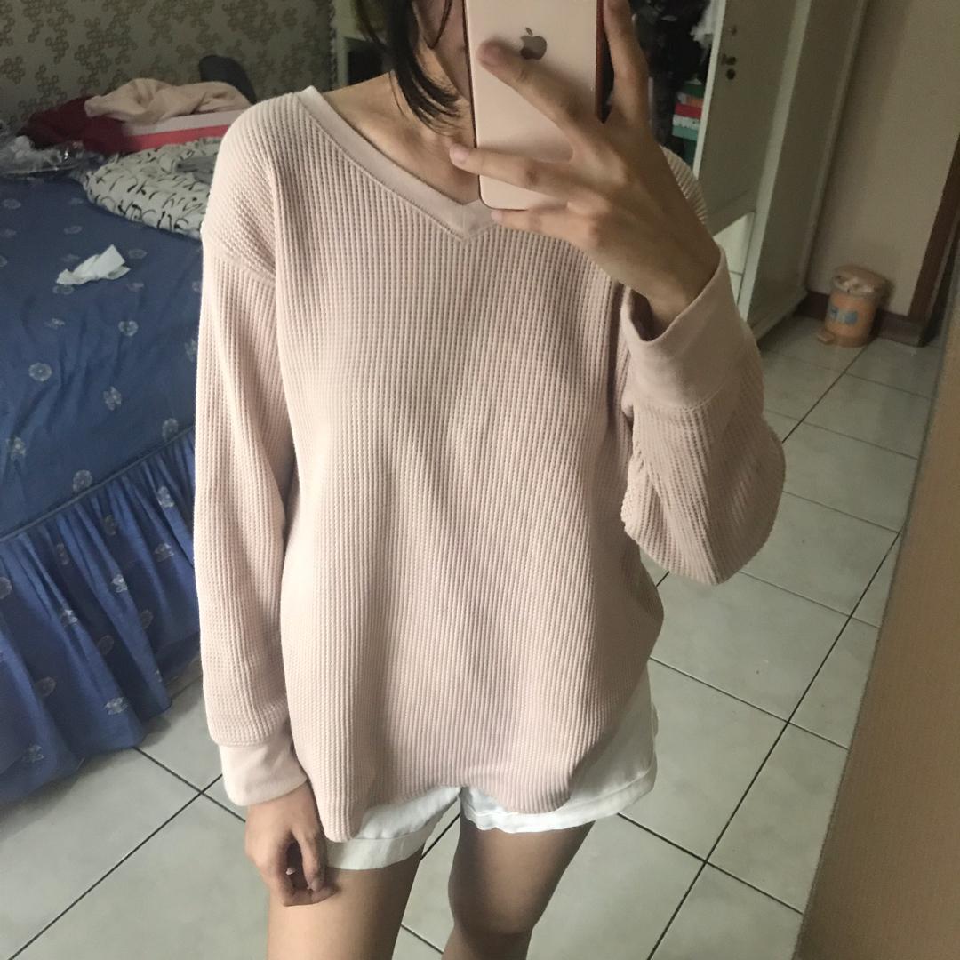 Uniqlo Pink Waffle Sweater Sweathirt Top