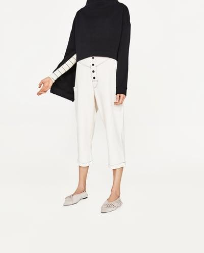 Women's Zara cream cropped trousers