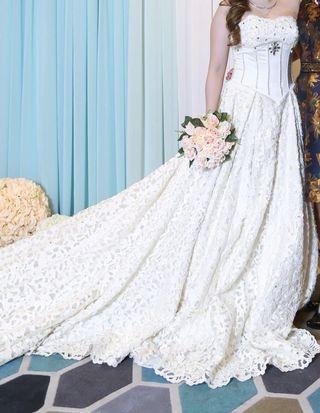 大拖尾婚紗 Trailing wedding dress wedding gown