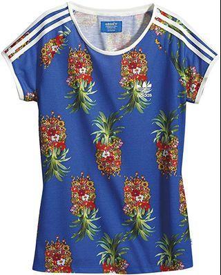 🚚 Adidas Originals X Farm Pineapple Blue Frutaflor Flower T Shirt
