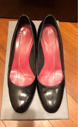 Kate Spade 黑色漆皮高跟鞋 Black Patent Leather Wedge Pumps