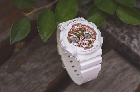 100% Authentic Casio Gshock GMAS120MF White with Rose Gold with FREE DELIVERY 📦