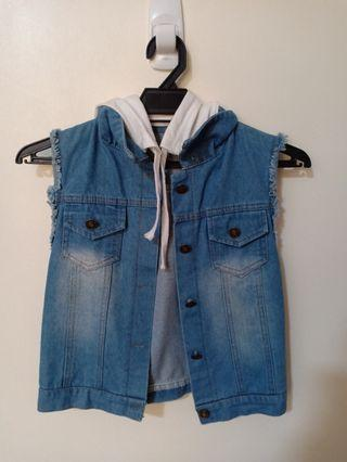 Denim Vest with Hood