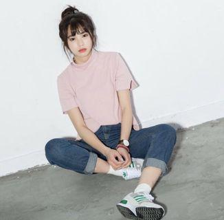 ulzzang dusty pink mock top