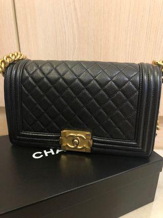 Chanel boy 荔枝牛皮 黑配金 25公分