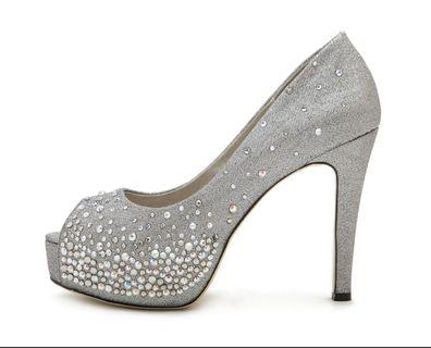 Pazzion Silver Glitter Heels