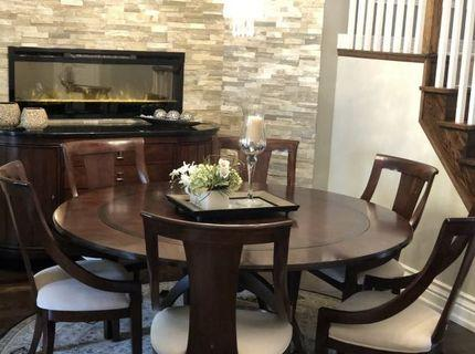Beautiful Round Dining Table Set + Rug