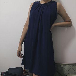 Mididress navy dress biru