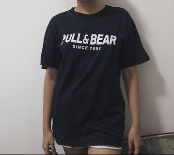 pull and bear shit kaos black hitam