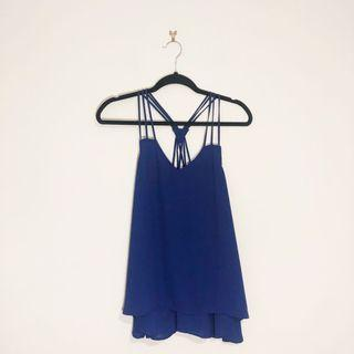 (8) Valleygirl Royal Blue Flowy Strappy Blouse