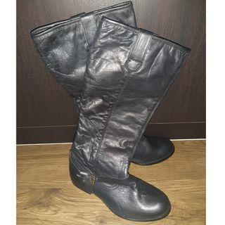 Black Knee High Leather Boots (Ladies)
