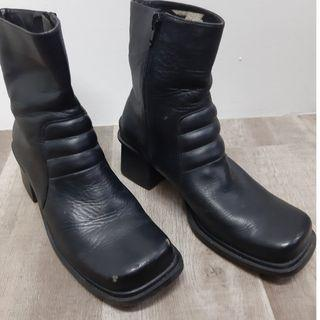 Black Leather Ankle Boots (Ladies)