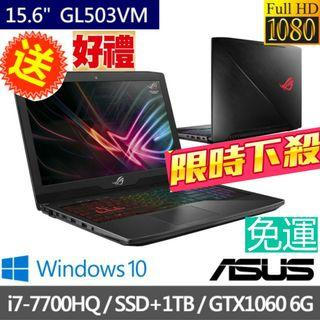 "Asus/Asus電競筆電/gaming laptop/電競筆電/Asus gaming laptop/GTX1060-6G/ROG/i7/Intel® Core™ i7/NVIDIA® GeForce®1060-6G /256GBSSD+1TB/GL503V/GL503VM-0111D7700HQ/華碩電競筆電/華碩/Asus ROG/Nvidia/intel/gaming/15.6""/獨顯/LOL /吃雞/PUBG/絕地求生/英雄聯盟/Asus ROG STRIX Hero Edition"