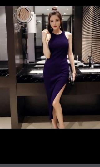 Blue knitted rib side slit bandage Bodycon maxi cut in halter Dress