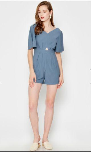 Lace and Bravery BAILEE CUTOUT ROMPER ASH BLUE