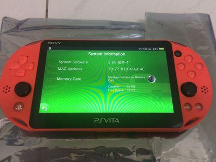 Ps Vita 2k + 64GB SD memory card