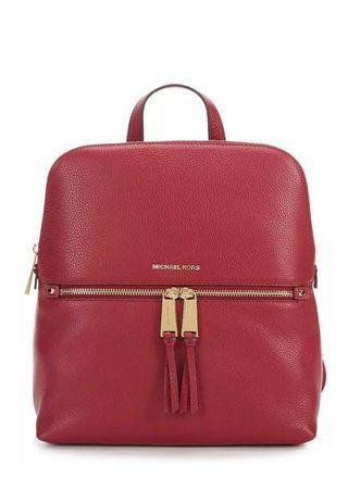 Michael Kors Rhea Slim Backpack Red Mulberry