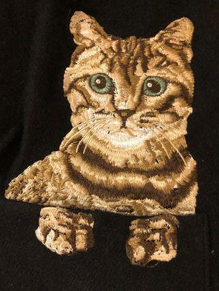 貓咪刺繡披肩