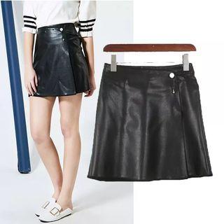 New黑色皮裙短裙A字裙半身裙