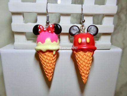 米奇米妮冰淇淋造型耳環 耳鉤 垂墜 925鋼印