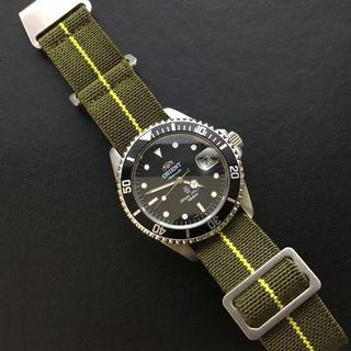 20mm Green & Yellow French Navy Style Nylon Watch Strap