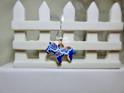 藍色小馬 個性耳環 耳鉤 925鋼印