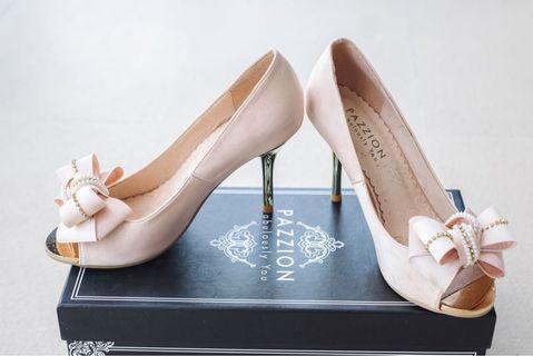 Pazzion Beige High Heel Wedding Shoes