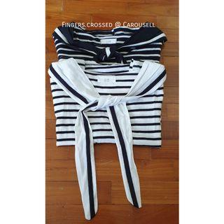 Cute ulzzang stripes sailor fuku cropped top (Navy & white nautical stripes) | Sailor uniform collared tee #idotrades