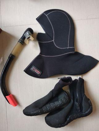 名牌細碼潛水頭套、鞋及吸氣管