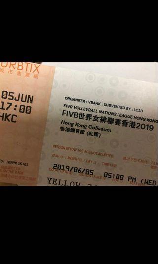 世界女排聯賽2019香港站門票