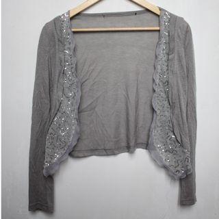 Gray sequin cardigan