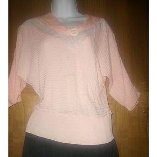夏季桃色女士襯衫 - 精細針織 - 白色針織裝飾 - 優雅; Ladies Blouse - Fine Knitted Elegant; 夏季桃色女士衬衫 - 精细针织 - 白色针织装饰 - 优雅